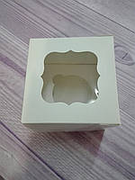 Коробка для 1 капкейка белая,  с окошком