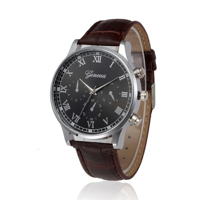 """Мужские наручные часы """"Geneva"""" (коричневый ремешок)"""