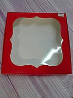 Коробка для пряников с окошком, красная 20* 20 см