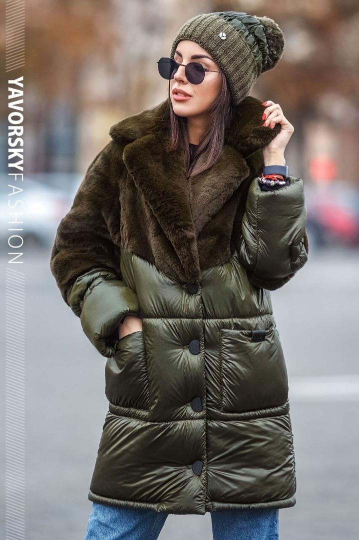 Женская зимняя куртка «Линда» с эко-мехом кролика