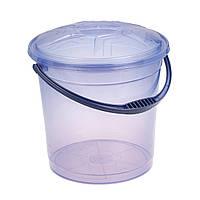 Ведро пластиковое пищевое с крышкой 15 л (прозрачное)