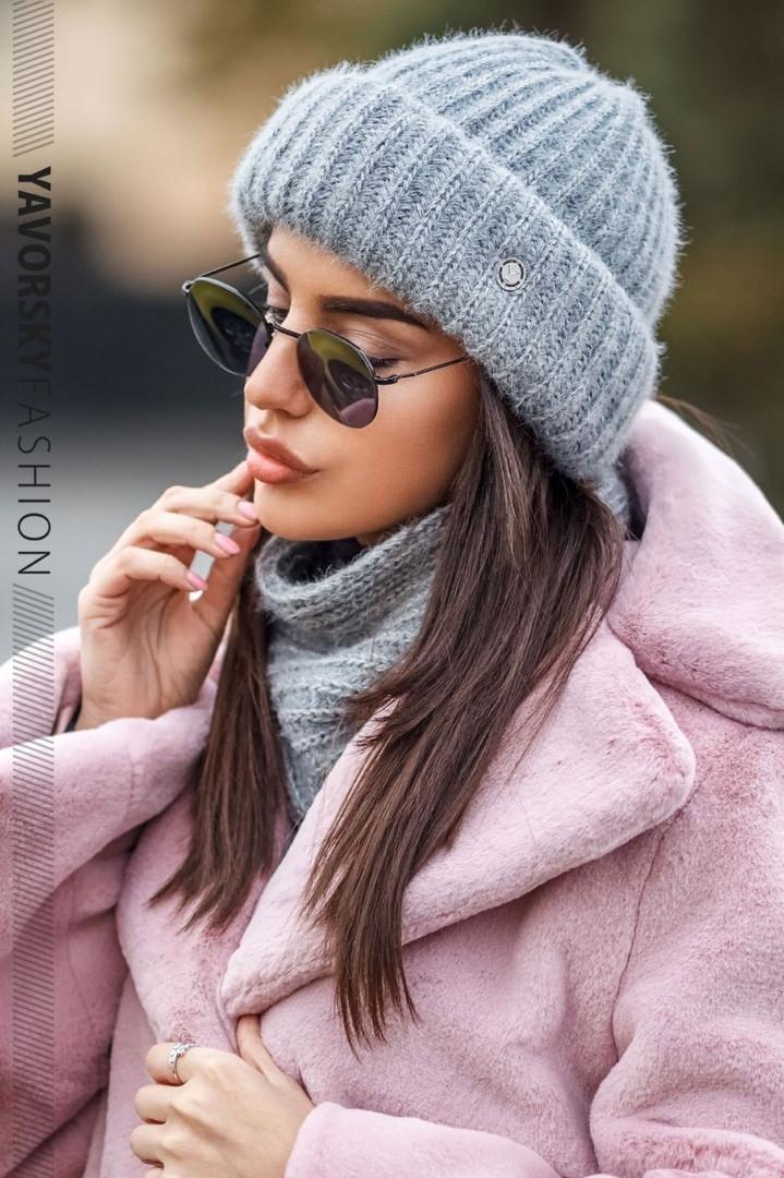 Стильный женский набор: шапка+хомут,серого цвета