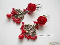 Серьги с розами Кокеттка