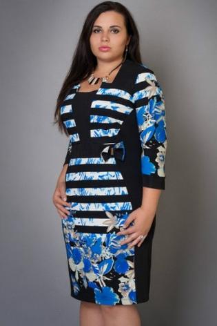 Платье в полоску с цветами большой размер, фото 2