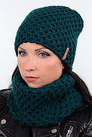 Стильный женский комплект - шапка на флисе и шарф хомут 18088k темно-зеленый