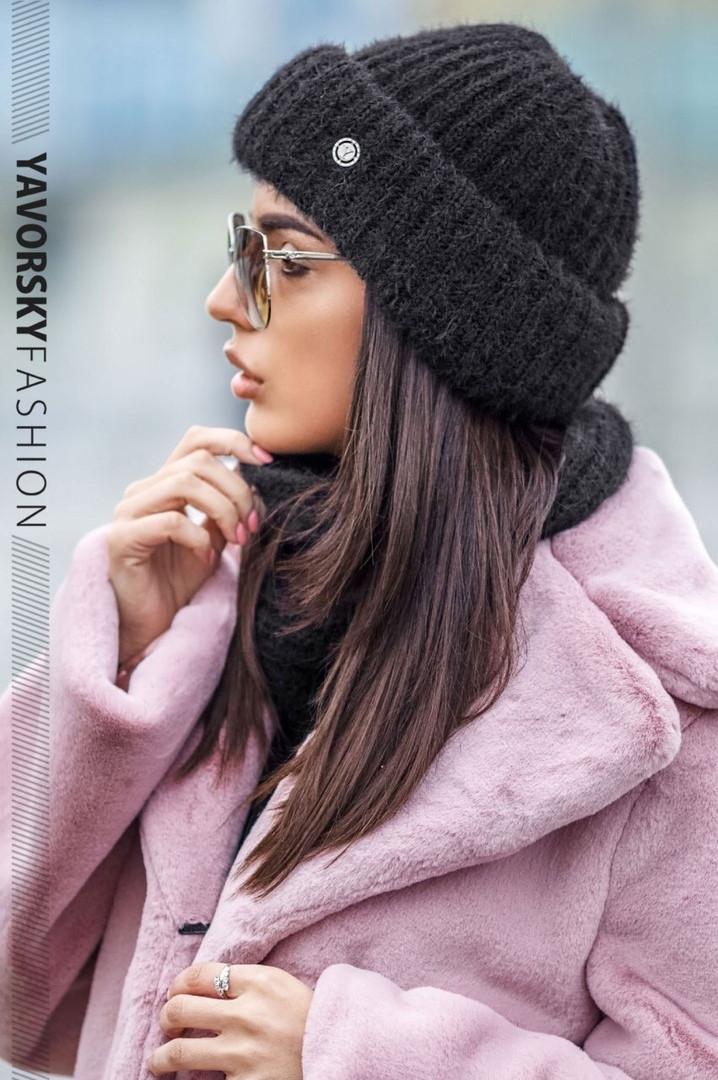 Стильный женский набор: шапка+хомут,черного цвета