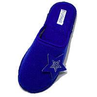 """Комнатные войлочные тапочки женские паркетные PaGo """"Star"""" (36, 37, 38, 39, 40, 41) Синий W 2020-81"""