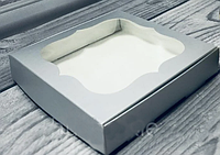 Коробка для печенья, пряников, с окном, 15 см х 15см х 3 см, мелованный картон Серебристая