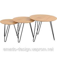 Комплект кофейных столов CS-15 орех D60*50(Н), D50*45(Н), D40*40(Н) Vetro