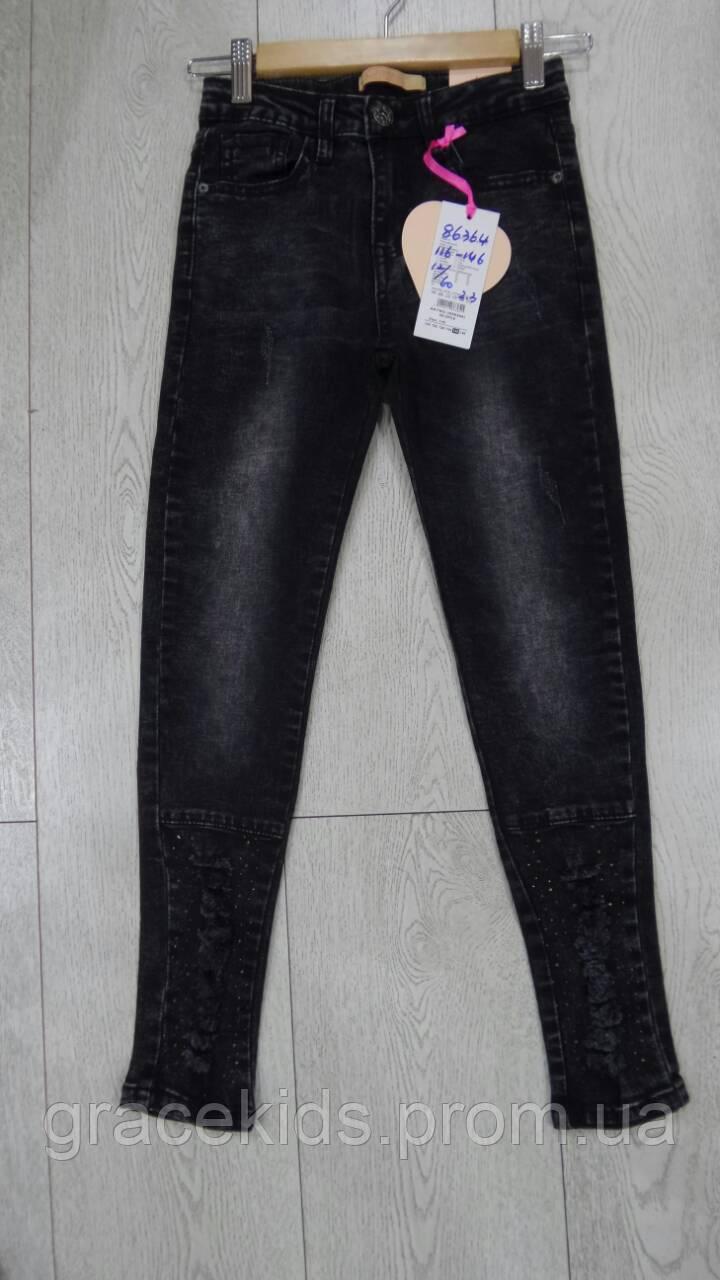 Детские черные джинсы для девочек GRACE,разм 116-146 см