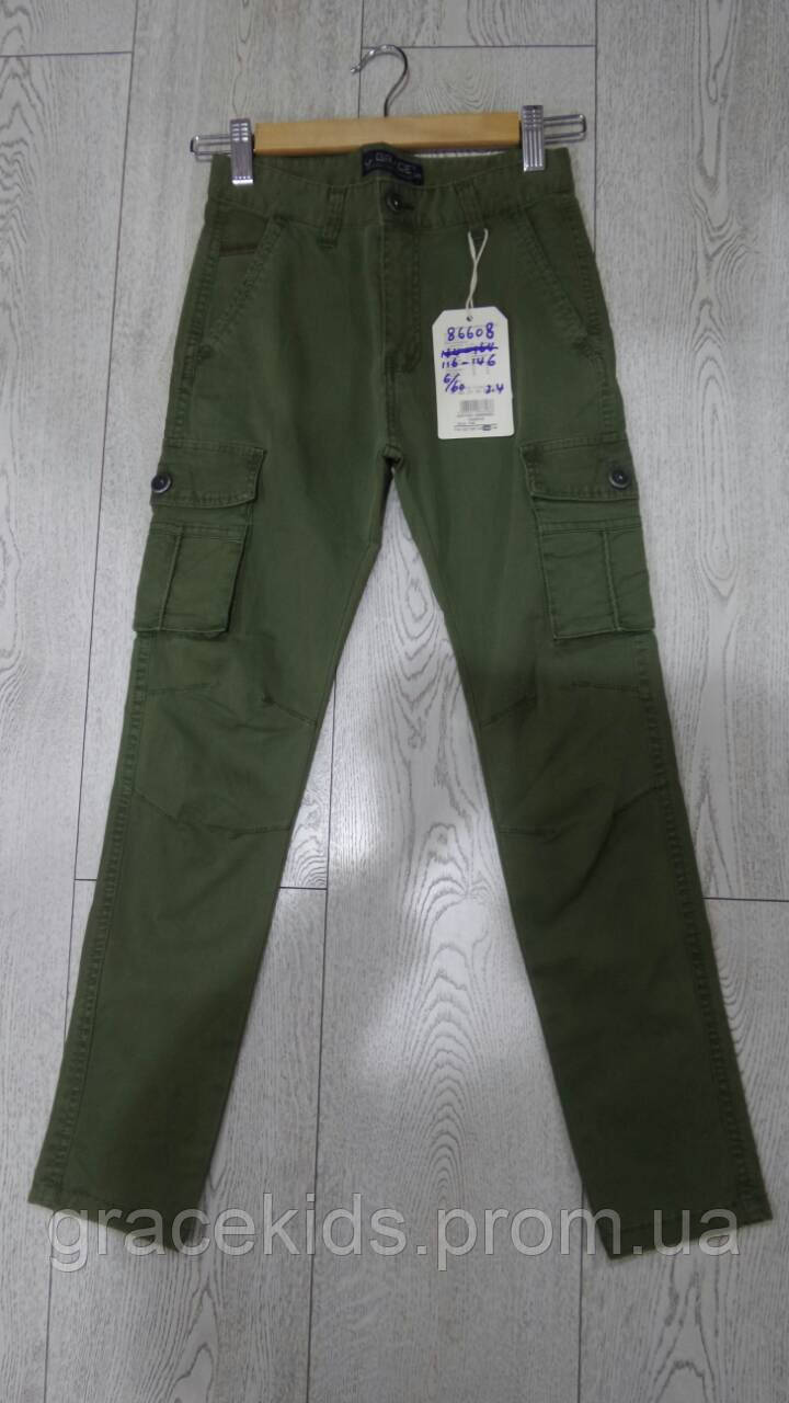 Детские котоновые брюки с накладными карманами GRACE,разм 116-146 см