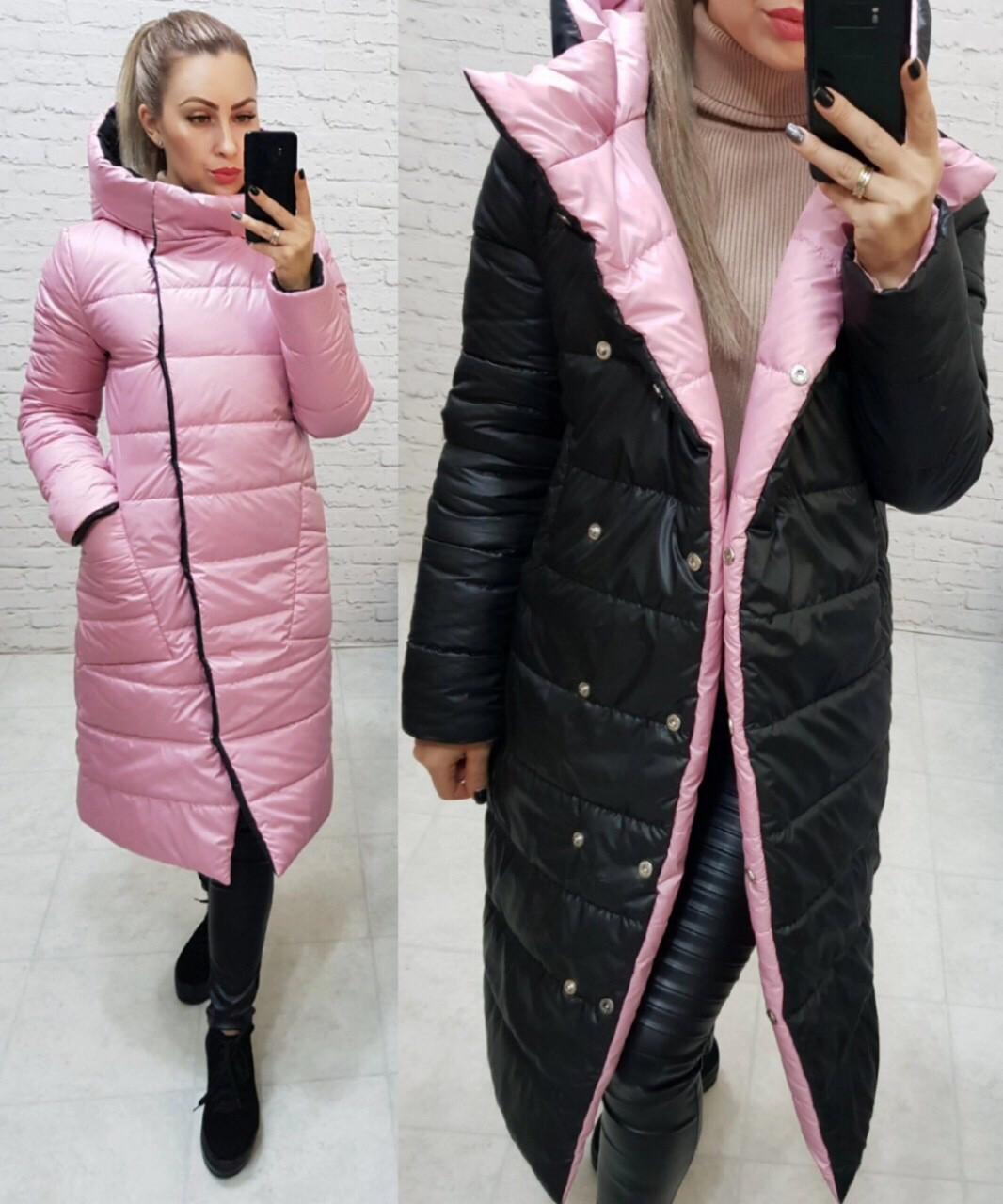 Куртка женская двусторонняя, арт. 1007, розовый/черный