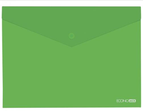 """Папка-конверт В5 прозрачная на кнопке Economix, 180 мкм, фактура """"глянец"""", зеленая"""