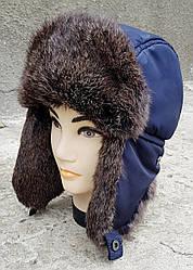 Зимняя мужская шапка-ушанка Klaus Spartak 58-60 Cиняя с Рыжим мехом(09/22)