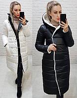 Куртка двусторонняя с капюшоном, арт. 1007, черный/белый