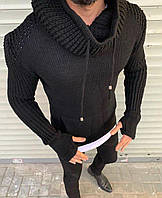 Теплый функциональный свитер с хомутом черного цвета
