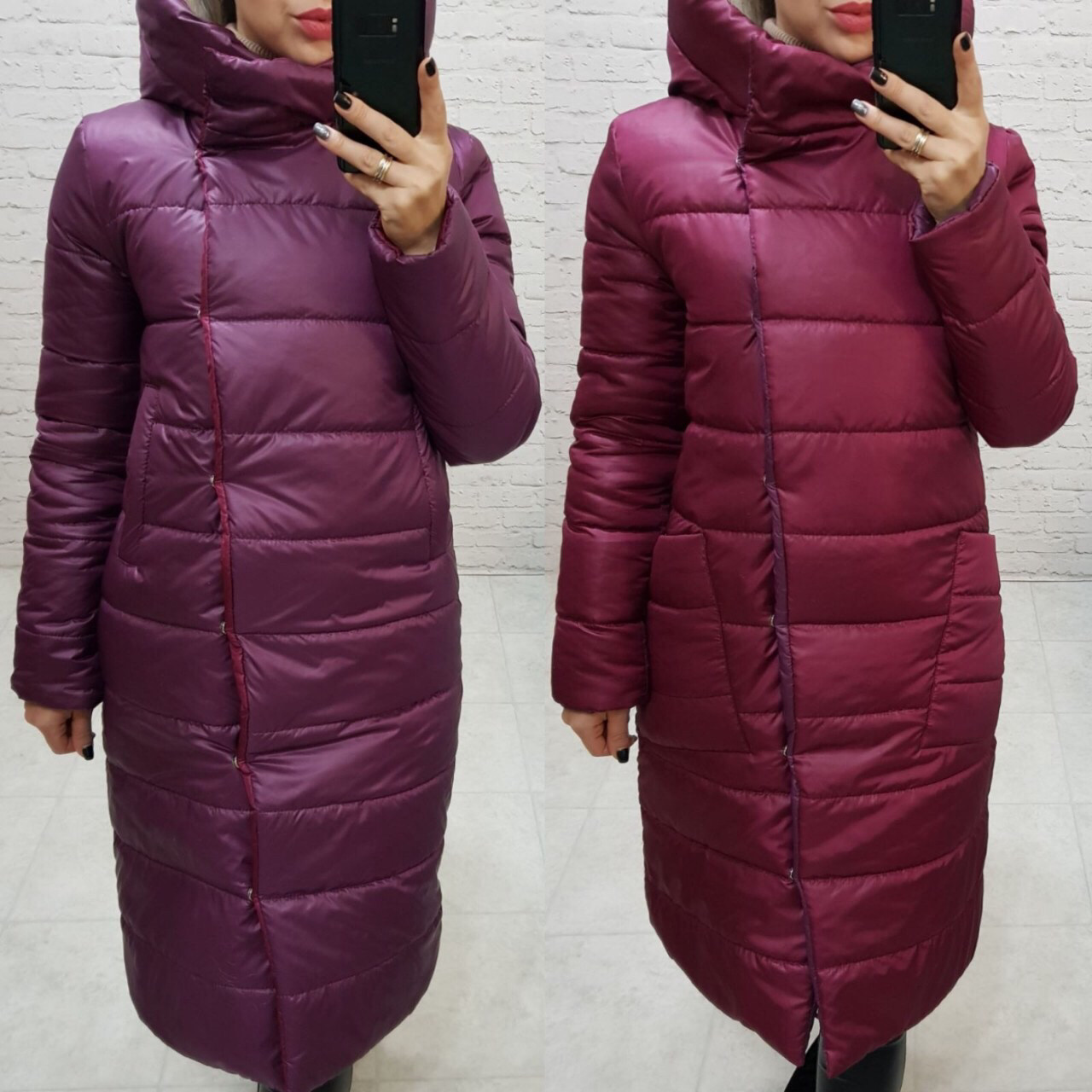 Куртка женская двусторонняя, арт. 1007, марсала/фиолетовый