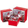 """Набор новогодних подарочных коробок """"Весёлый санта"""" 3 шт. Маленькие (13х13х8 см) (можно поштучно)"""