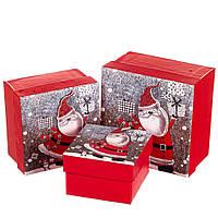 """Набор новогодних подарочных коробок """"Весёлый санта"""" 3 шт. Маленькие (13х13х8 см) (можно поштучно), фото 1"""
