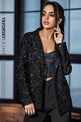 Нарядный женский блестящий пиджак «Шарлотта»,черного цвета