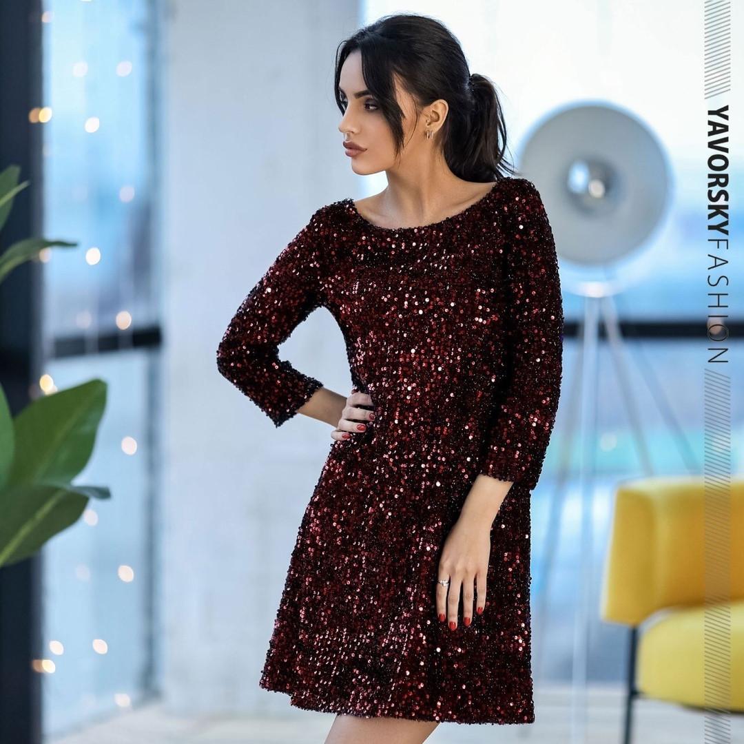 Женское нарядное сверкающее платье с пайетками,бордового цвета