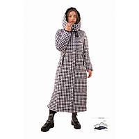 Пуховик женский куртка длинный клетка
