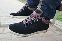 Ботинки зимние мужские Timberland черные замшевые