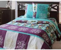 Хлопковое постельное белье из бязи с простыней на резинке Комфорт Текстиль евро комплект