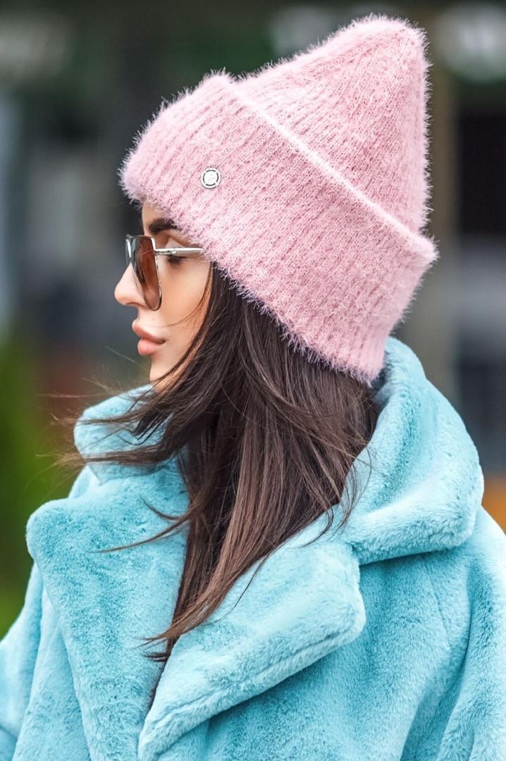 Женская зимняя теплая мягкая шапка из травки,цвет пудра