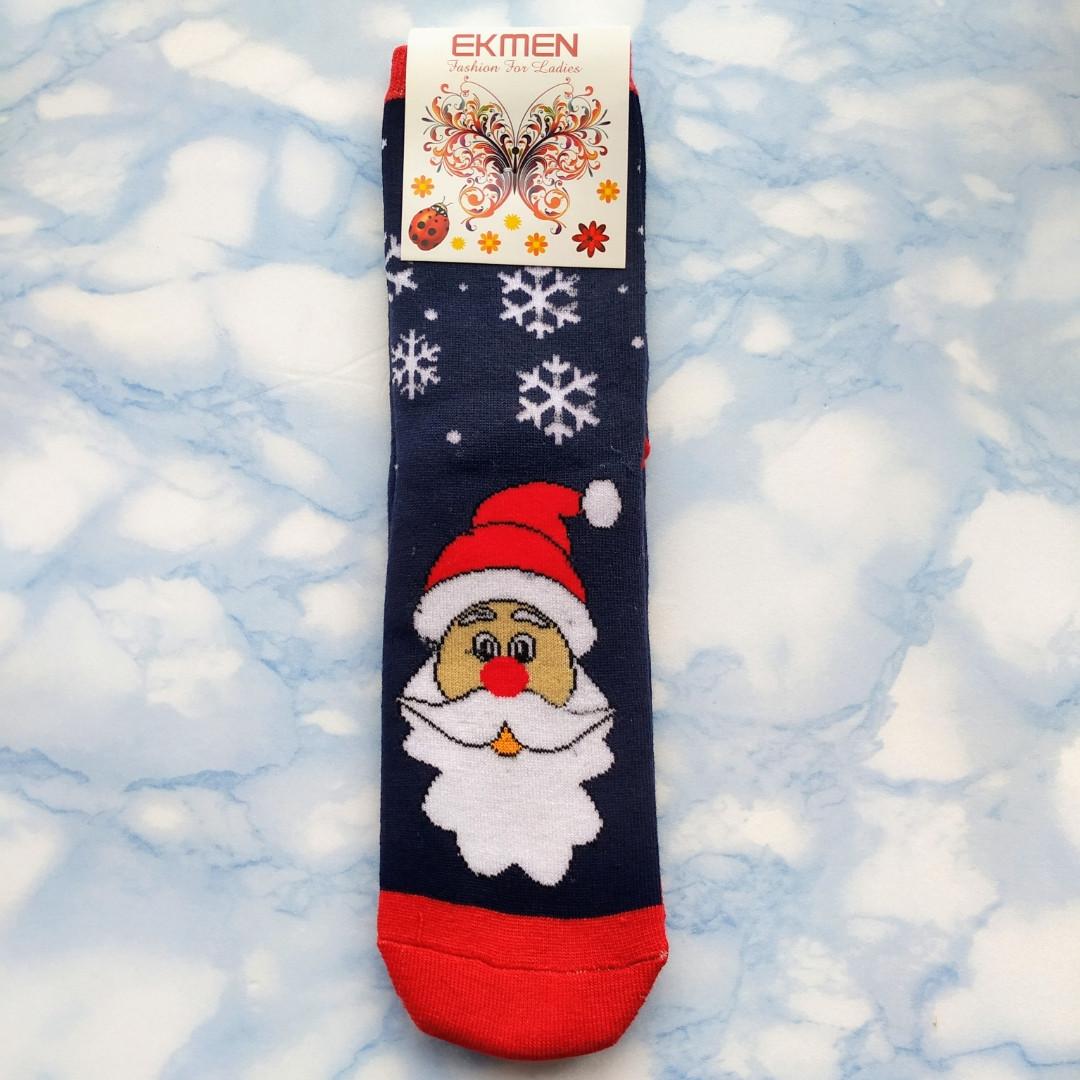 Шкарпетки жіночі новорічні махра сині розмір 36-41