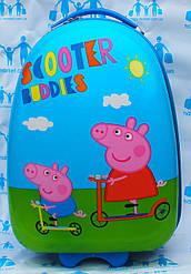 Детские овальные пластиковые чемоданы 2 колеса- 42 см  Josepf Ottenn стандарт Свинка пеппа голубые 1655