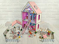 Дом для кукол лол Little Fun maxi с Двориком ( 30 шт мебели)
