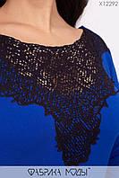 Нежное платье футляр с ажурным декором на горловине и рукавами с разрезами с 48 по 54 размер, фото 3
