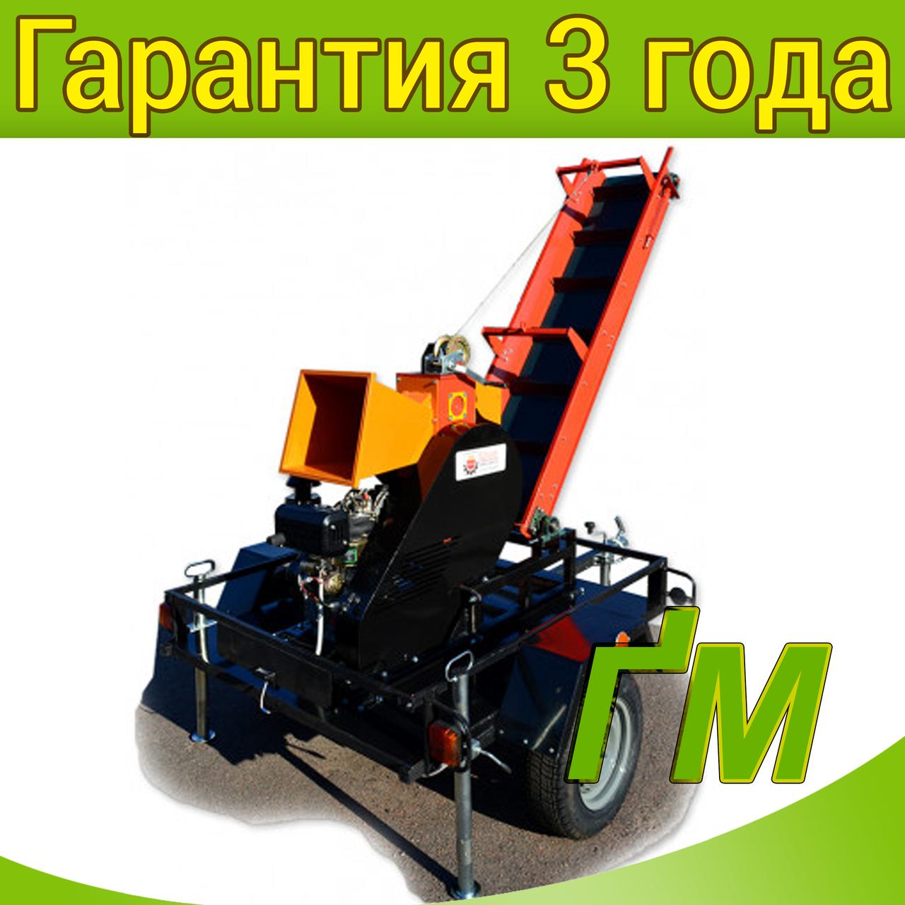 Измельчитель веток 2В-120ДКЛ с конвейерной лентой 2м на прицепе (Дизель 14л.с)