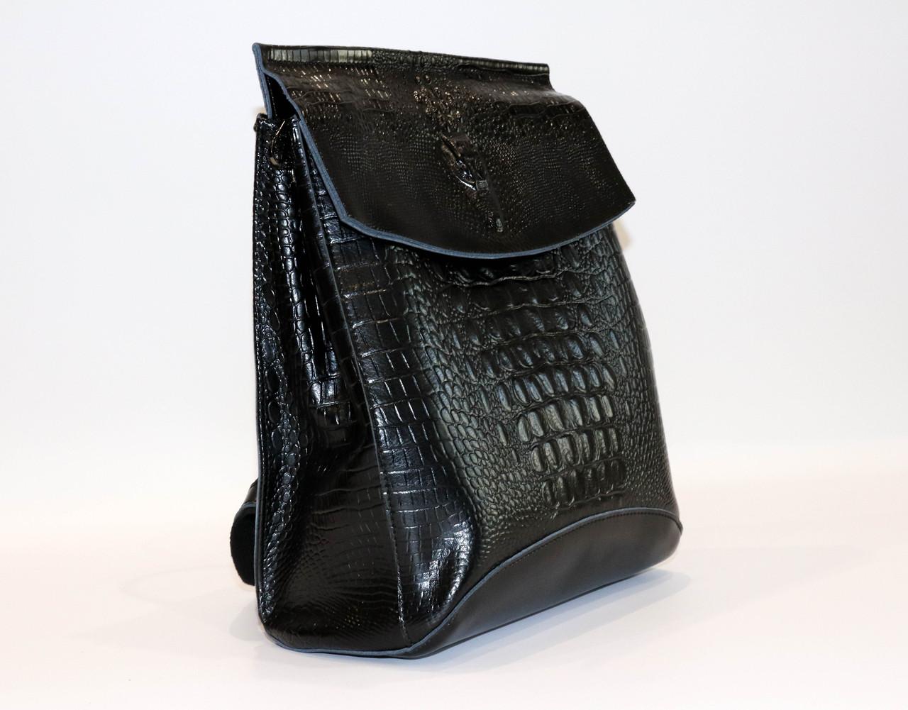 Женский кожаный рюкзак №1608-3VT Black, фото 2