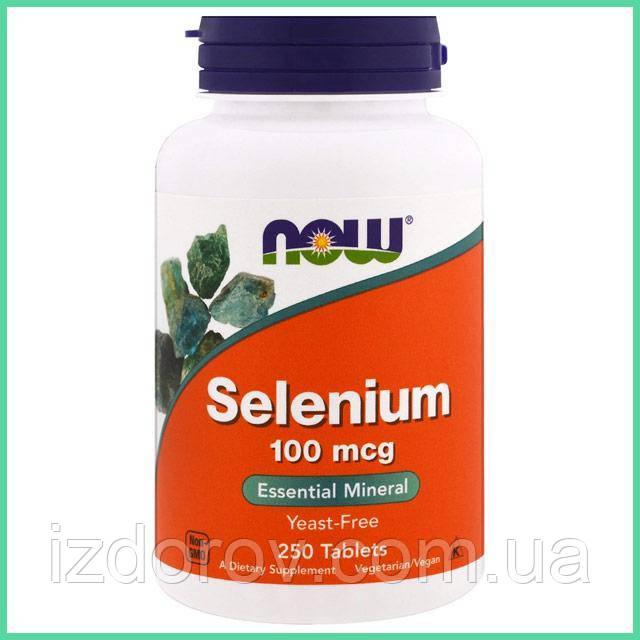 Now Foods, Селен 100 мкг, не содержит дрожжей, Selenium, 250 таблеток