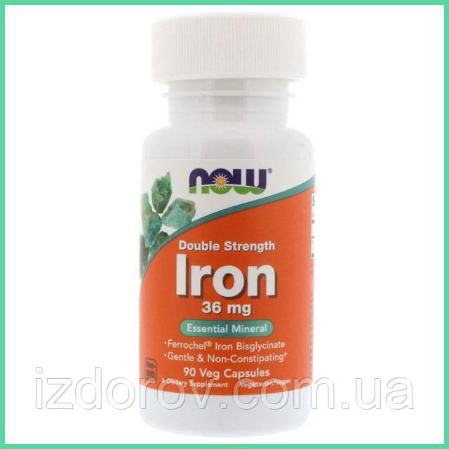 Now Foods, Хелатное железо (бисглицинат), Ferrochel Iron Bisglycinate, 36 мг, 90 растительных капсул. США
