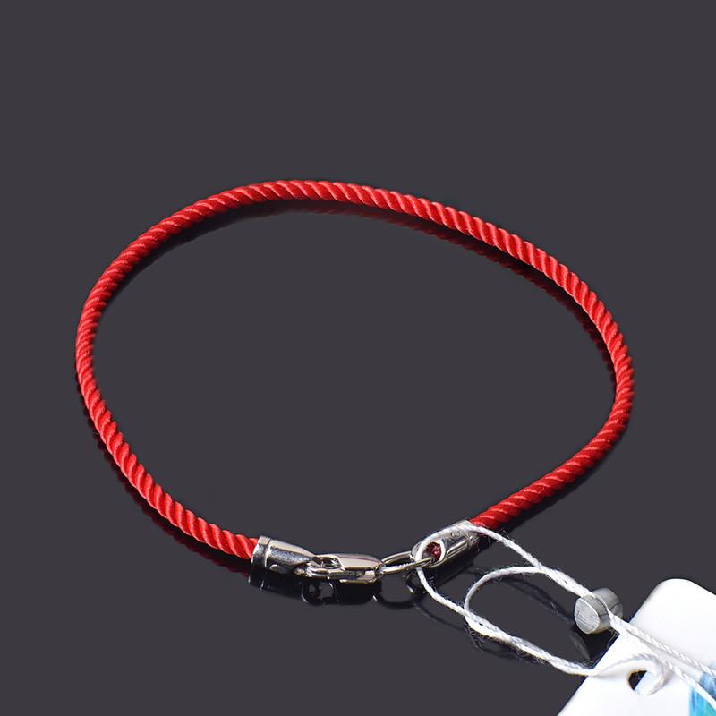Крученый красный шелковый браслет с серебром 17 см