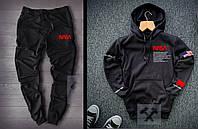 Теплий спортивний костюм чоловічий NASA НАСА чорний (РЕПЛІКА)