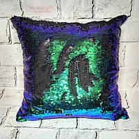 Декоративная подушка с пайетками хамелеон, 39х39 см