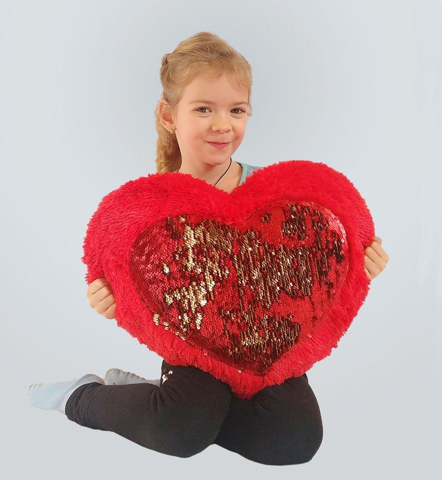 Плюшевая игрушка Mister Medved Подушка-сердце с пайетками 50 см