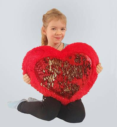 Плюшевая игрушка Mister Medved Подушка-сердце с пайетками 50 см, фото 2