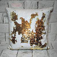 Декоративная подушка с пайетками белый-золото, 39х39 см