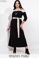 Длинное ангоровое платье с контрастной двусторонней кокеткой и карманами с 48 по 54 размер, фото 1