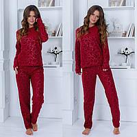 Теплая женская пижама с узором 42-44 46-48 50-52 52-54  розовая бежевая красная серая белая