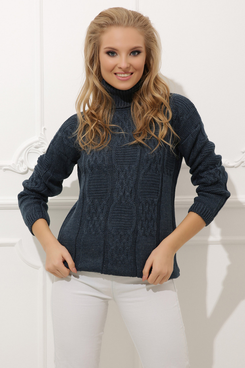 Вязаный женский свитер Жанна из шерсти и акрила