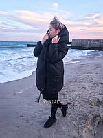 Женская зимняя куртка с капюшоном на силиконе 300 42 44 46 48 черная розовая белая зеленая оверсайз