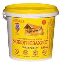 Огнебиозащита для дерева СТРАЖ-2, порошковый концентрат, ведро 0.75 кг