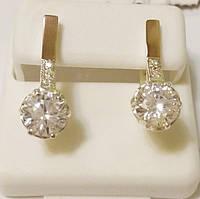 Серьги женские из серебра с золотом и цирконием Лель, фото 1