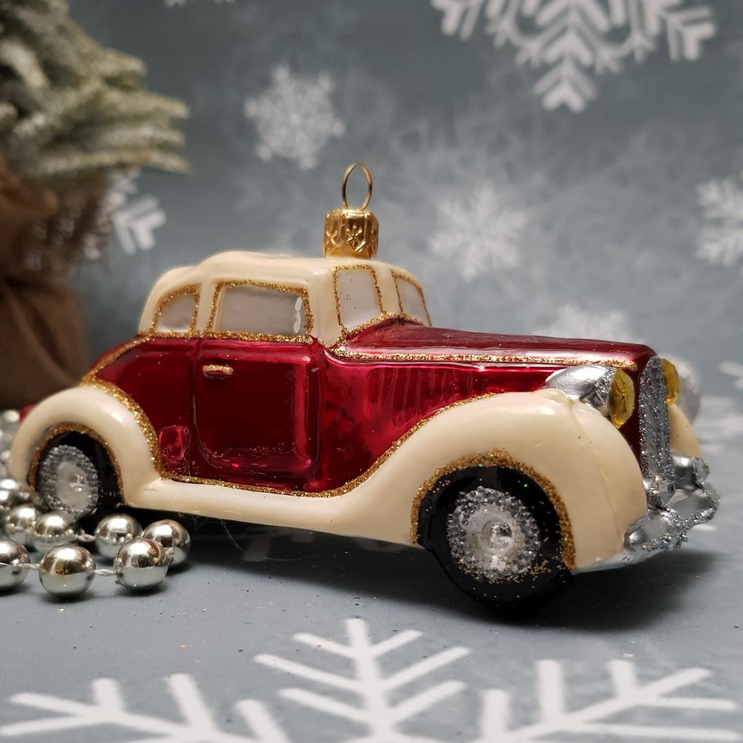 Стеклянная елочная игрушка  irena ретро пвтомобиль ирэна ирена